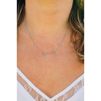 Love Initials Necklace {Silver}