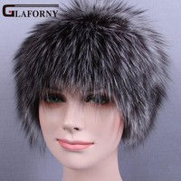 Glaforny 2017 Knitted Silver Fox Fur Hats Women Warm Real Fur Beanies Winter Fur Caps with Woolen for Russian Female