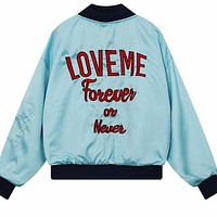 Love Me Forever Or Never Embroidered Bomber Jacket