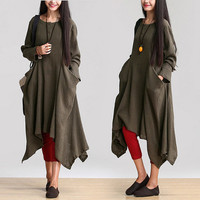women long sleeve maxi dress linen dress autumn clothing