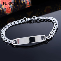 2016 New 1PC Stainless Steel ID Bracelet Bangle Silver Tone Cuban Curb Chain Bracelets 20cm Lettering Stamping Blank Punk Men