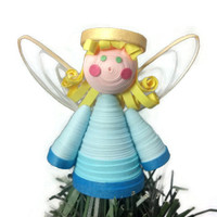 Angel Paper Quilled Christmas Mini Tree Topper OR Ornament - Christmas decor, paper quilling ornament, angel ornament, paper quilling angel