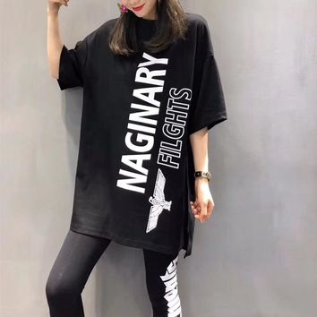 BOY Women Casual Simple Pattern Letter Print Solid Color Middle Sleeve Tight  Leggings Fashion Two-Piece Suit Clothes