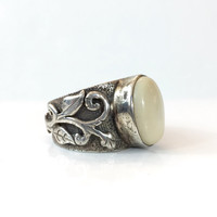 Vintage Sterling Silver Bone Ring Tribal Antler Ring Leaves Vines Band Ethnic Jewelry Antique Jewelry Birthday Gift for Her Boho Ring Size 8
