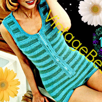 Digitial Pattern • PLAYSUIT ROMPER • Vintage Crochet PATTERN 1970s • Maillot Retro Sexy Beach Striped One Piece Leotard Instant Download PdF