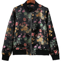 Black Floral Print Zippered Jacket