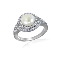 Faux Pearl, Cubic Zirconia and Sterling Silver Halo Ring | Lord and Taylor