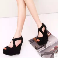 Trendy Peep Toe Black Platform Wedges