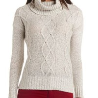 Marled Cable Knit Turtleneck Sweater by Charlotte Russe - Ivory Combo
