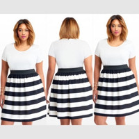 New Plus Size White And Black Striped Fit And Flare Dress Size XL