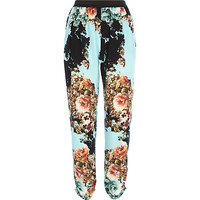 River Island Womens Turquoise floral print joggers