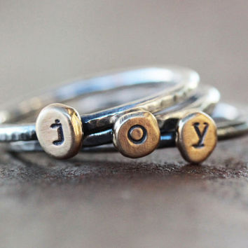 JOY Rings / Stacking Rings / Unique Gift / Inspirational Jewelry / Stacking Rustic Rings / Sterling Silver Rings / Joyful Rings