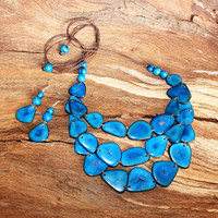 Blue Necklace and Earring Set, Tagua Necklace, Triple Strand Necklace, Eco Chic Vegetable Ivory Nut Necklace, Chunky Necklace for Women 1280