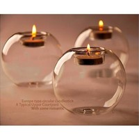Round Hollow Crystal Glass Candle Holder Wedding Fine Candlestick Dining Room Home Decoration [9305901447]