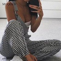 Women Casual Sleeveless Backless Dungarees Bodycon Plaid Long Overalls romper Female Jumpsuit Pencil Pants Trousers