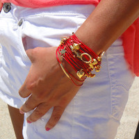 Red and Gold Leather Bracelet / Necklace