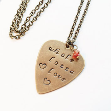 "Led Zeppelin ""Whole Lotta Love"" Metal Guitar Pick Necklace, Vintaj Hand Stamped"