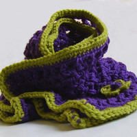 Green and Purple Scarf, with Green Flower, Crochet