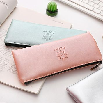 Sunny Faux Leather Pen Pouch Pencil Case Stationery Storage Bag Student Gift