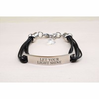 Genuine Leather Id Bracelet With Crystals From Swarovski - Let Your Light Shine