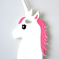 White & Pink 3D Unicorn Soft Silicone iPhone 6 Case