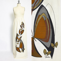 Vintage 1970s ALFRED SHAHEEN Maxi Skirt - Gold Printed Butterfly Full Length - Medium M