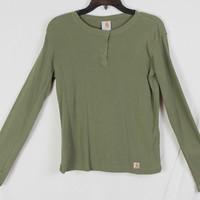 Nice Carhartt M size Henley Cotton Top Military Olive Green All Season Stretch Shirt