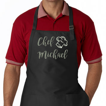 Personalized Chef Name EMBROIDERED Men's Apron