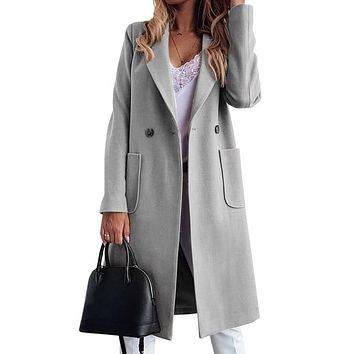 KANCOOL Autumn Winter Casual Solid Jacket Fashion Women Trench Coat Plus Size Coats Outerwear Office Ladies Causal Long Overcoat