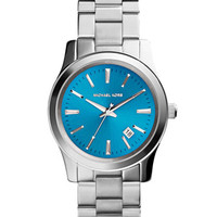 Michael Kors Mid-Size Silver Color Stainless Steel Runway Three-Hand Watch