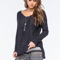 FULL TILT Essential Womens Marled Step Hem Sweater | Pullovers