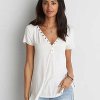 AEO Soft & Sexy Snap Front Jegging T-Shirt , Natural White