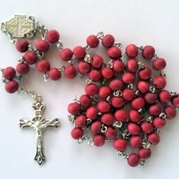 Rosary Beads Catholic Necklace Christian Pendant prayer Blessed Wood Long Israel Red