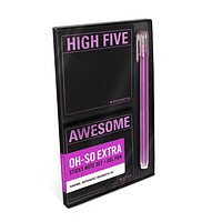 High Five / Awesome Metallic Sticky Note Set + Gel Pen Boxed Set | 2 Sticky Note Pads and 1 Pen with Shiny Purple Accents