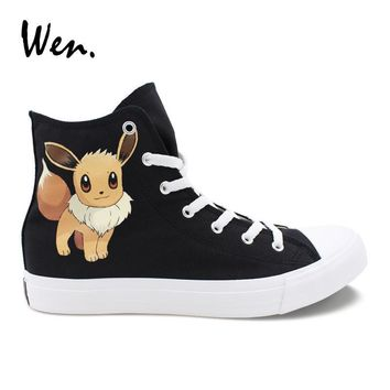 Wen Custom Shoes  Eevee Hand Painted Canvas Cosplay Shoes Men Women Sneakers High Top Cross Straps Loafer Flat PlimsollsKawaii Pokemon go  AT_89_9