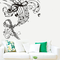 Wall Decal Vinyl Sticker Decals Art Decor Design Notes Pattern Danask Music Treble Clef Flowers Butterfly Vintage Juzz Dorm Bedroom (r488)