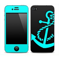 Solid Black and Turquoise Anchor Skin for the iPhone 3gs, 4/4s, 5, 5s or 5c