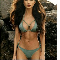 Fashion sexy gray green four knot halter show body two piece bikini swimsuit