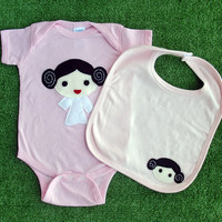 Sewing Wars - Princess Layer Baby Girl Infant Bodysuit and Bib Combo