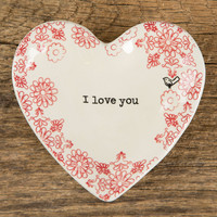 """Heart Trinket Dish """"I Love You"""" by Natural Life"""