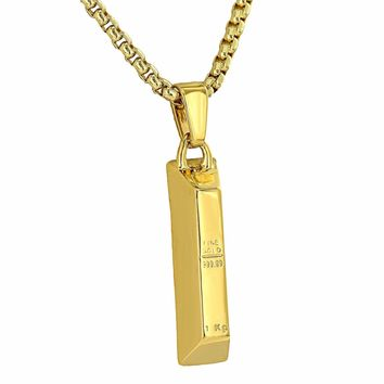Fine Gold Bar Look Pendant 18K Yellow Gold Finish Brand New Mens Womens Necklace