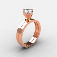 Modern 14K Rose Gold 1.0 CT White Sapphire Solitaire Engagement Ring, Wedding Band Bridal Set R186S-14KRGWS