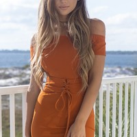 Twisted Away Rust Off Shoulder Dress