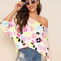 Batwing Sleeve Allover Print Top