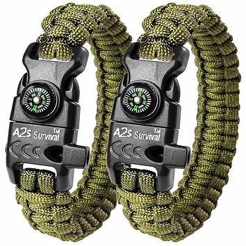 """A2S Protection Paracord Bracelet K2-Peak – Survival Gear Kit with Embedded Compass, Fire Starter, Emergency Knife & Whistle EDC Hiking Gear- Camping Gear Green / Green 8.5"""""""