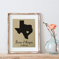 Personalized State Art Print | Gift for Mom | State Art Print on Burlap | Custom State Art Print | Engagement Gift