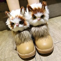 Cute cat tassel boots to keep warm female cotton boots ugg boots for women's shoes