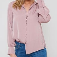Button Down Blouse- Mauve