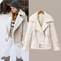 White Long-Sleeve Notched Suede Winter Coat
