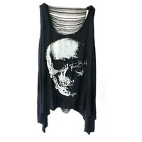 Iwoo Skull Head Pattern Hollow Back Women Tank Tops